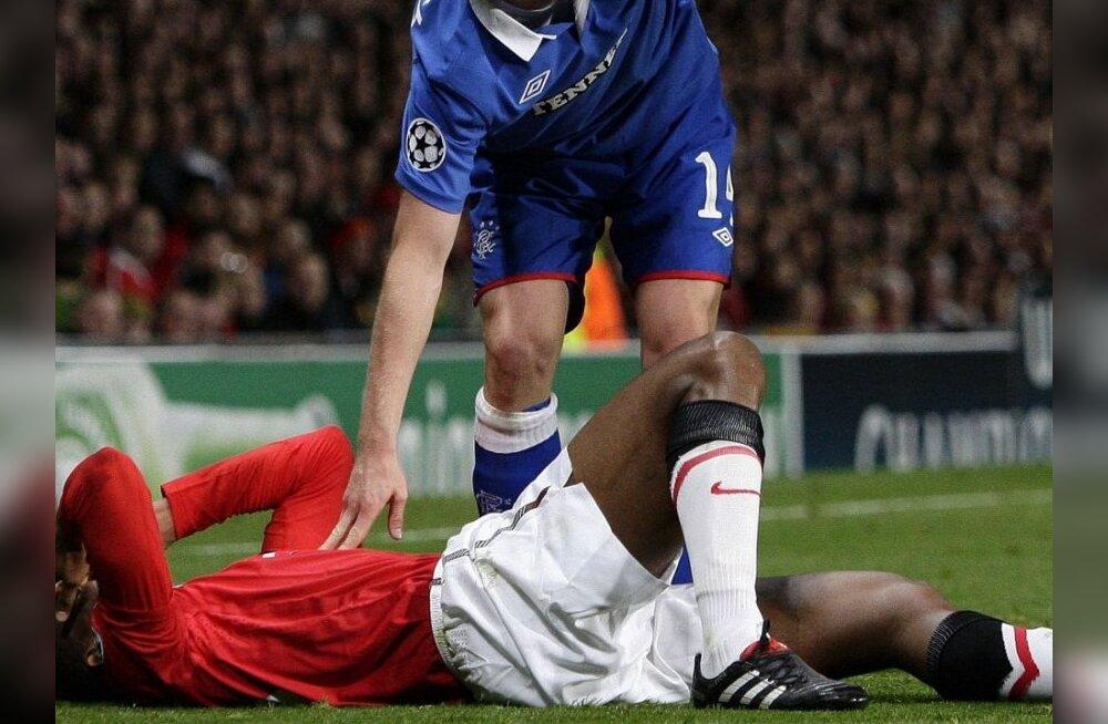 VIDEO: ManU jalgpallur murdis mängus Rangersiga jalaluu