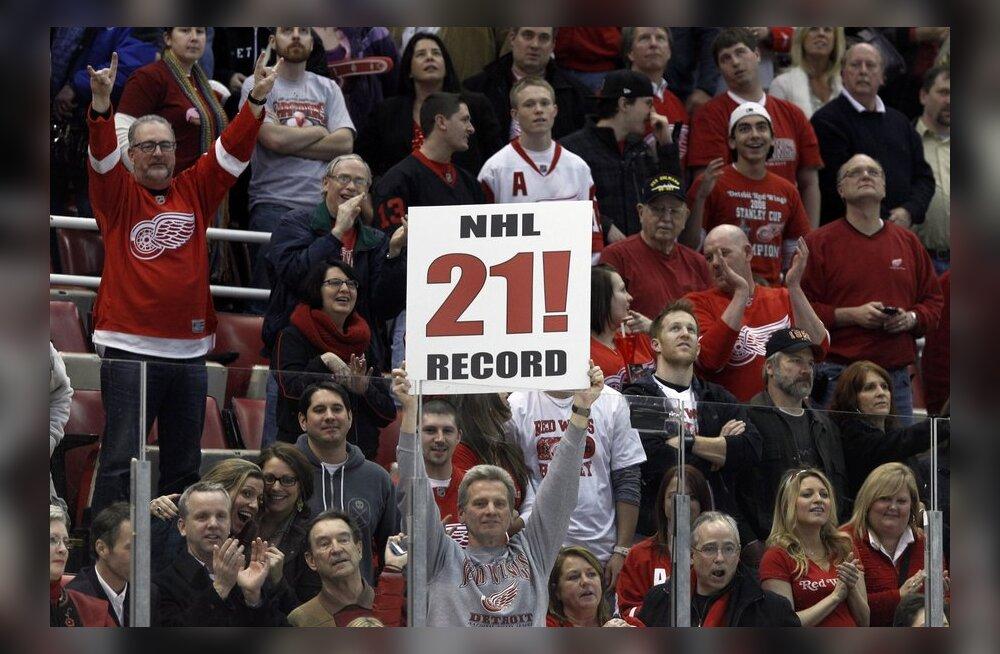 NHL: Uus rekord sündis! Detroit sai 21. järjestikuse koduvõidu