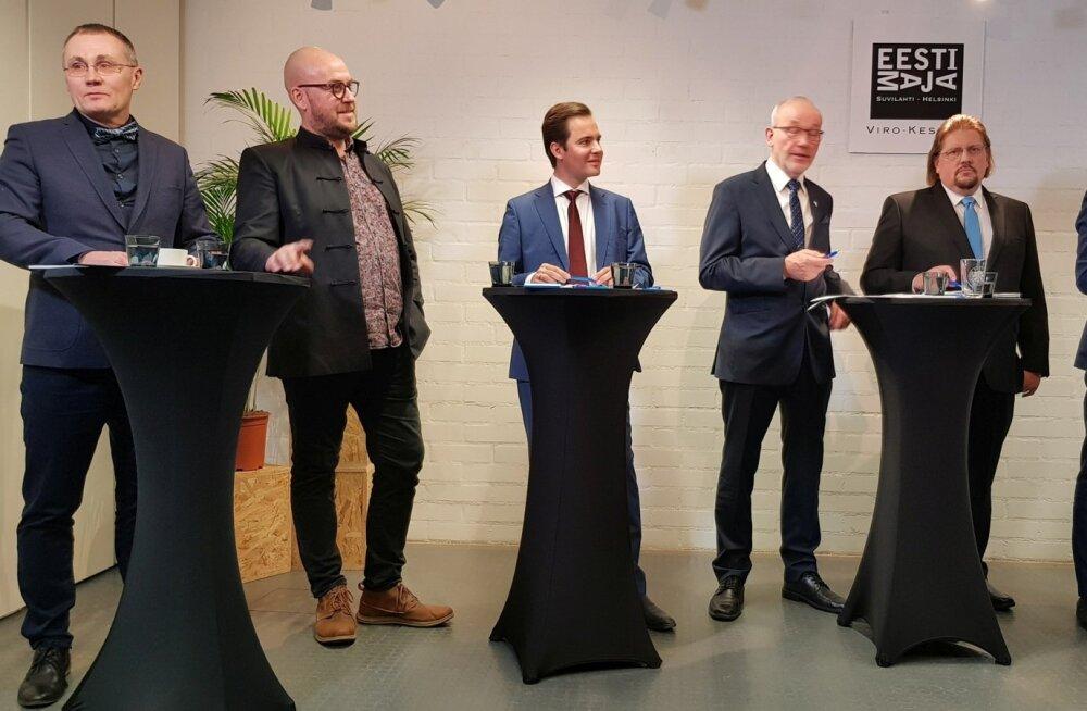 Eesti erakondade debatis osalejaid Helsingis: vasakult Tõnis Lukas, Artur Talvik, Nikolai Degtjarenko, Kaul Nurm, Rudolf Jeeser ja Taavi Rõivas.