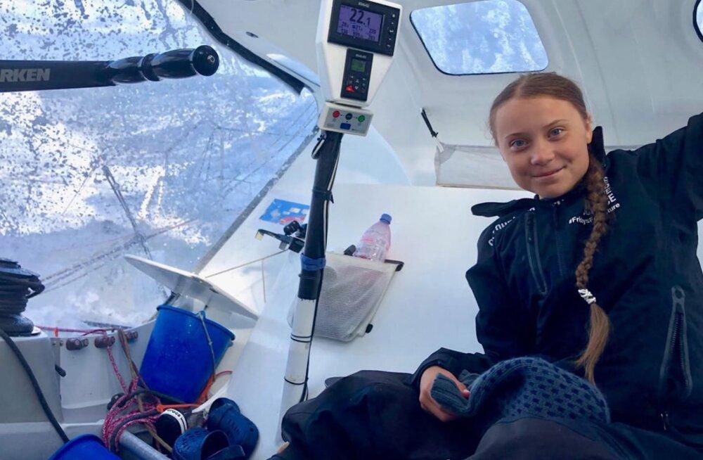Kliimaaktivist Greta Thunberg jõudis purjekaga New Yorki