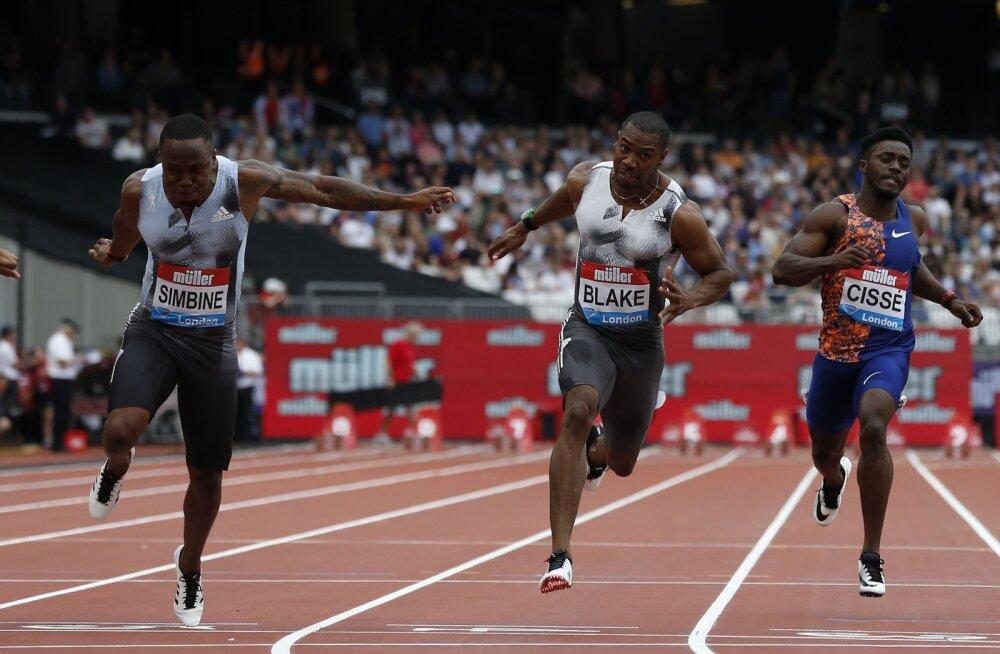 Londoni Teemantliiga etapi 100 meetri jooksus alistasid viis meest 10 sekundi piiri