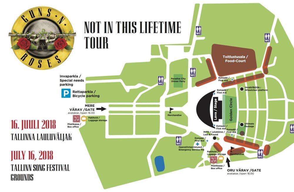 TÄHTIS: kõik, mida Guns N' Rosesi kontserdi külastaja teadma peab: liiklusest keelatud esemeteni!