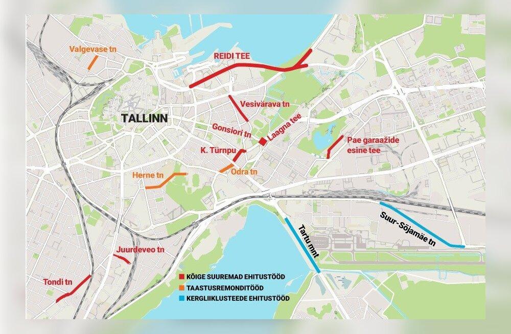 GRAAFIK: Vaata, milliseid suuremaid ja väiksemaid teid hakatakse suvel Tallinnas remontima