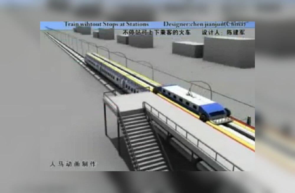 TULEVIKUIDEE: Rong, mis jaamaski ei peatu, reisijad astuvad maha sõidu pealt