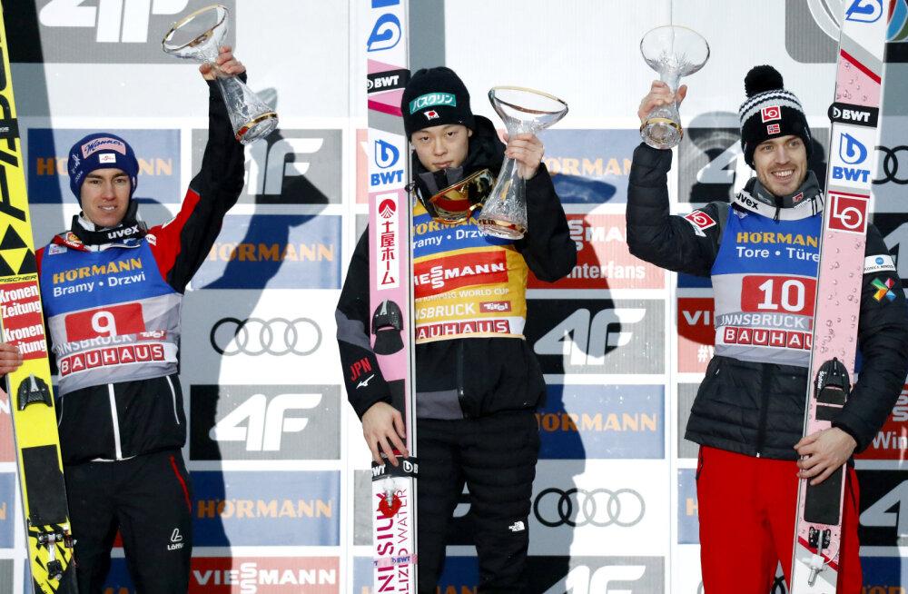 VIDEO | Nelja hüppemäe turnee: fantastilise esimese hüppe teinud Kobayashi võitis ka Innsbruckis