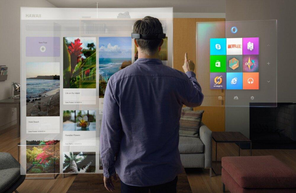 Microsofti HoloLens – näeb välja nagu peavõru, aga avab ukse virtuaalreaalsusesse