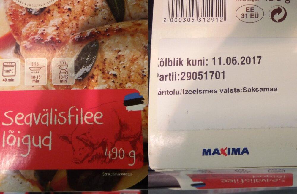FOTO   Maxima ja Nõo lihatööstus kasutasid Eesti lippu välismaise toore sealiha müümiseks