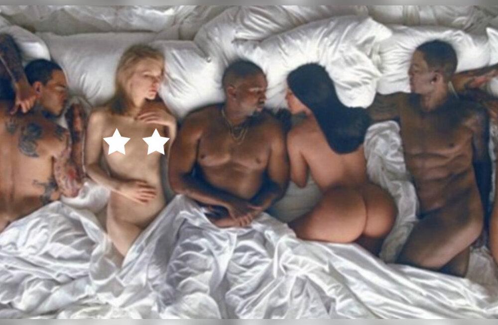 Maailma kõige veidram muusikavideo? Kanye ja Kim heitsid koos kümne porgandpalja staariga ühte sängi