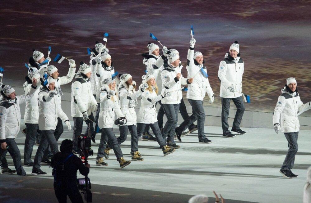 Sotši olümpiamängude avamine. Kel rohkem sportlasi marsib, sel on rohkem raha.