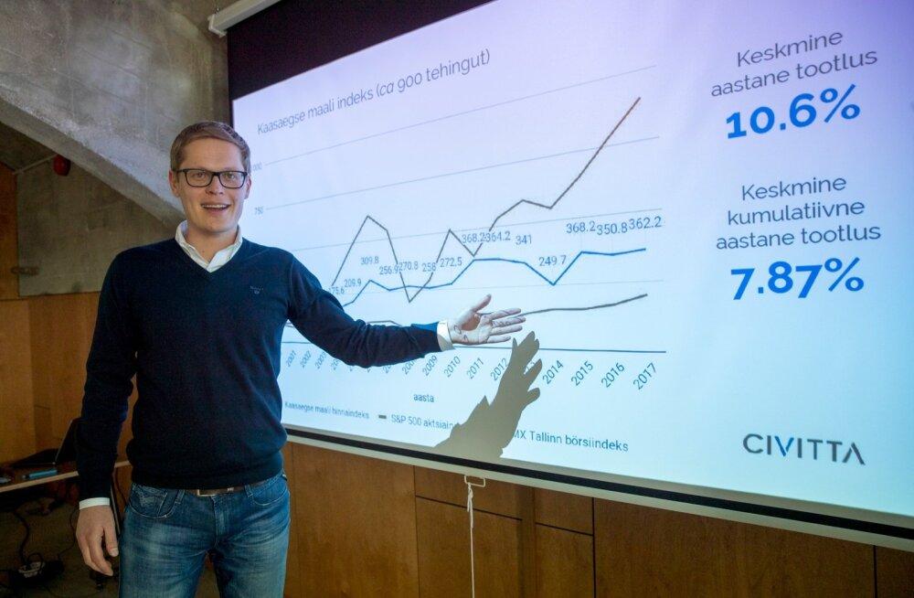 Kunstiindeksi looja Riivo Anton näitab graafikuid, kus kunstiindeks liigub börsiga sarnast rada.