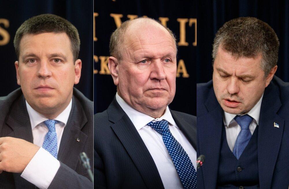 Jüri Ratas, Mart Helme ja Urmas Reinsalu