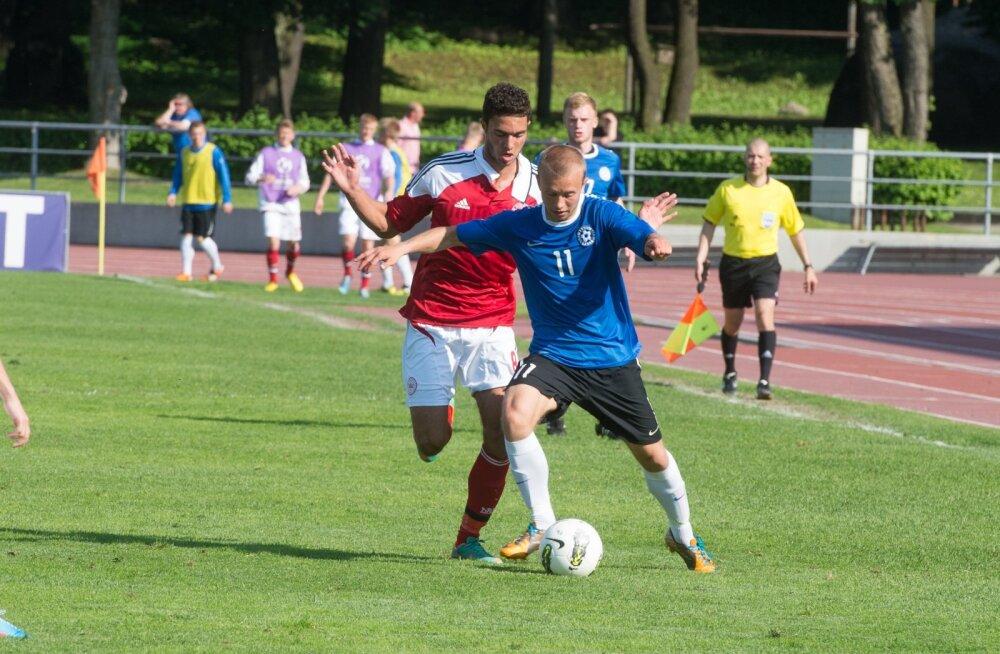 Elvis Liivamägi U-21 koondise mängus Taani vastu