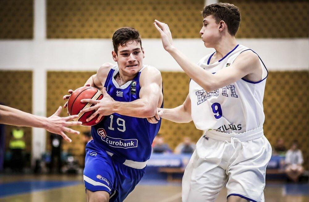 Eesti U16 korvpallikoondis pidi EM-i kaheksandikfinaalis Kreeka paremust tunnistama