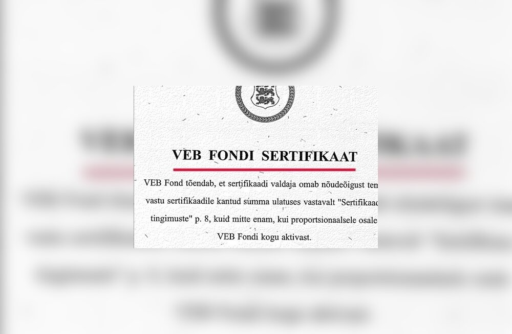 VEB Fondi sertifikaadi näidis