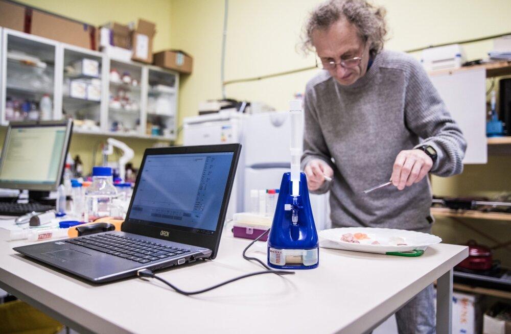 Teadur Alar Sünter lõikas lihast ja kalast proovid, et seade saaks määrata nende kvaliteedi.