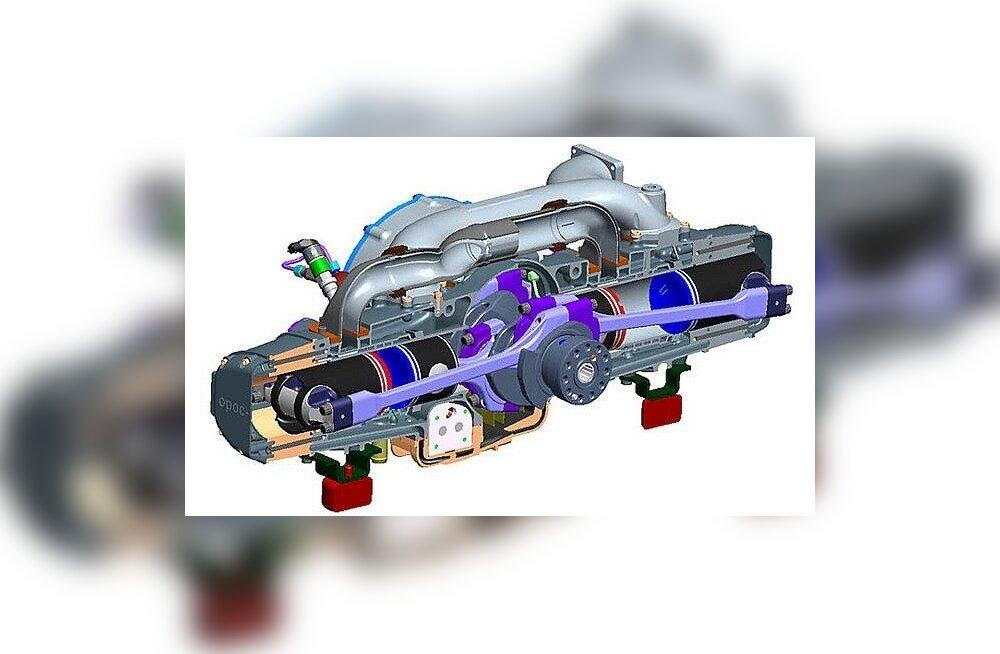 Opoc-mootor - kaks silindrit, neli kolbi