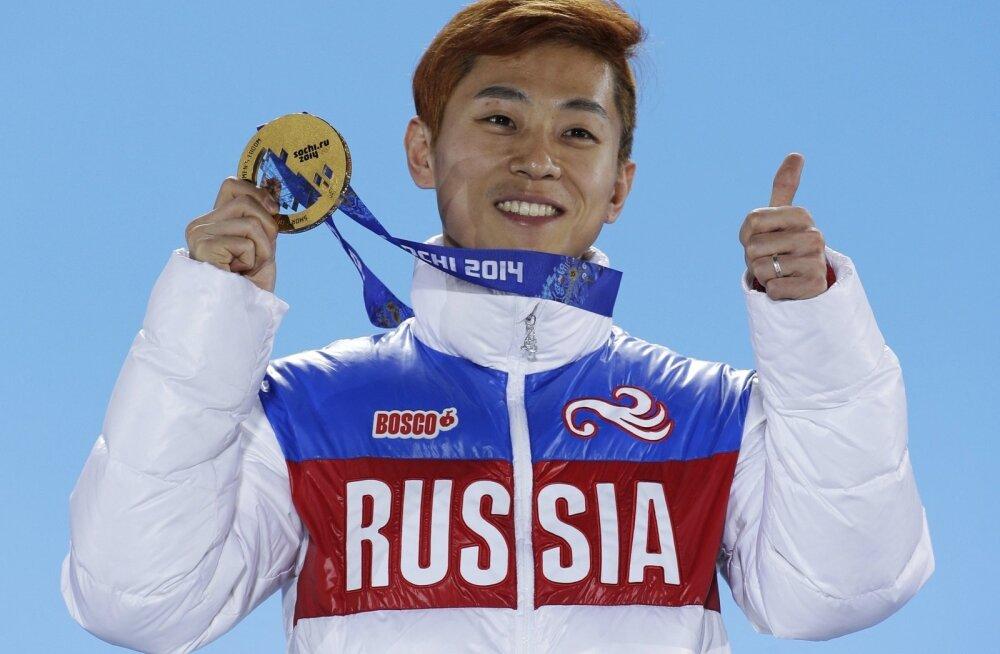 Viktor Ahn Sotši olümpial Venemaale võidetud kuldmedaliga.