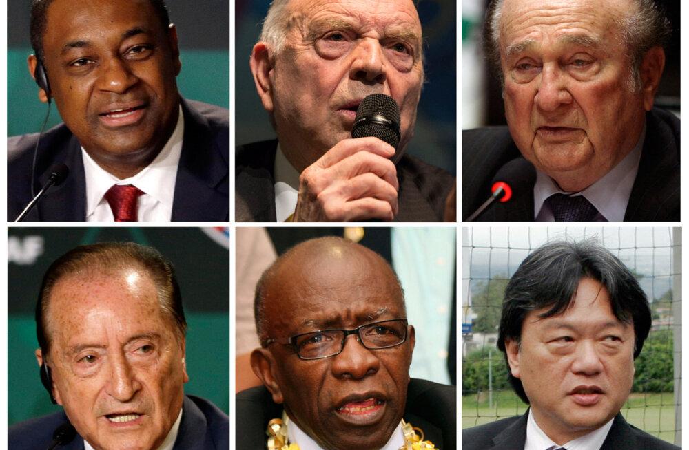 Süüdistuse saanud Jeffrey Webb (vasakult üleval), Jose Maria Marin, Nicolas Leoz, Eugenio Figueredo, Jack Warner, Eduardo Li