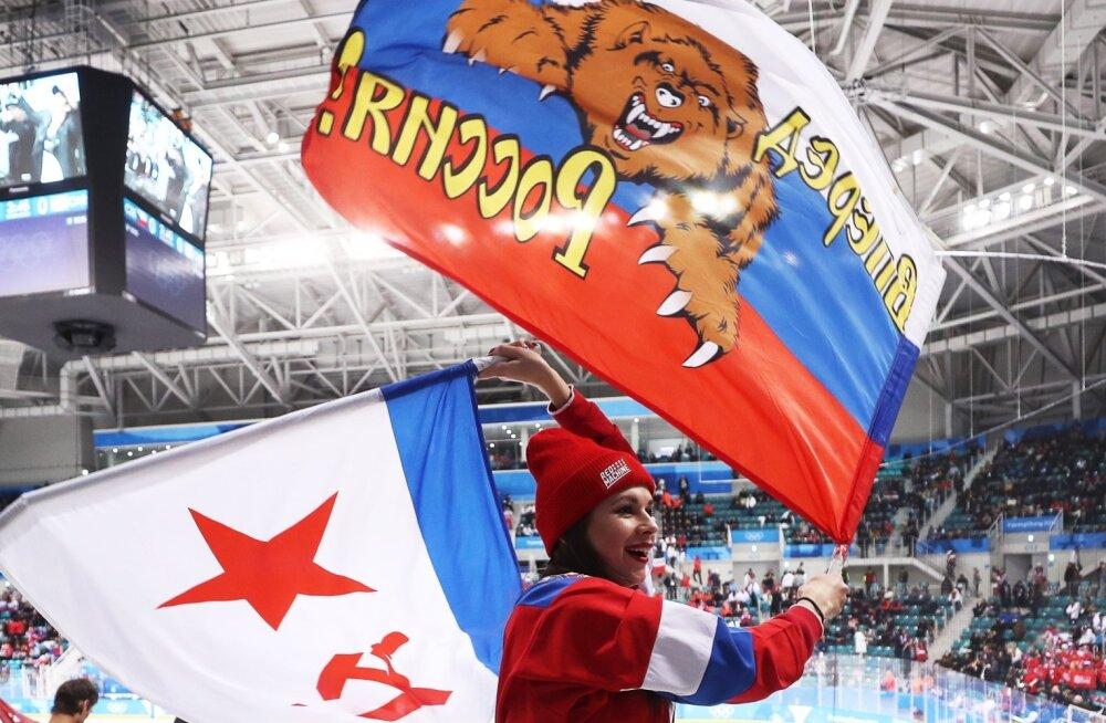Venemaa lippe näeb hokihallis igal pool.