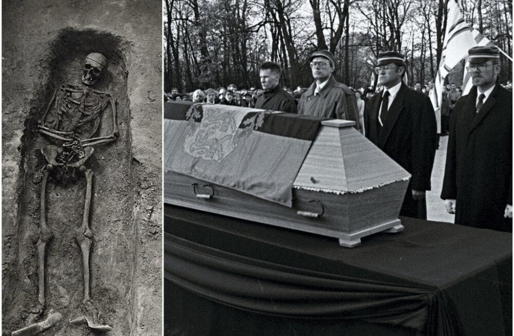 Üleskaevamiste käigus selgus, et Päts oli maetud vähemasti kirstus ning täisriietuses. Paremal fotomeenutus matuseteenistusest Metsakalmistul 21. oktoobril 1990.