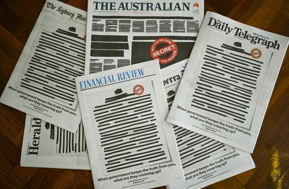 """Austraalia ajalehed ilmusid protestiks """"salatsemise"""" vastu mustaga maha tõmmatud esikülgedega"""