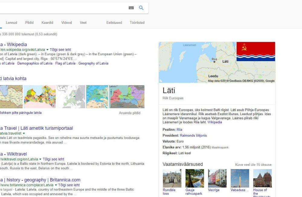 Tagasi Nõukogude Liidu rüppe: Google näitab Lätit otsides Läti NSV lippu