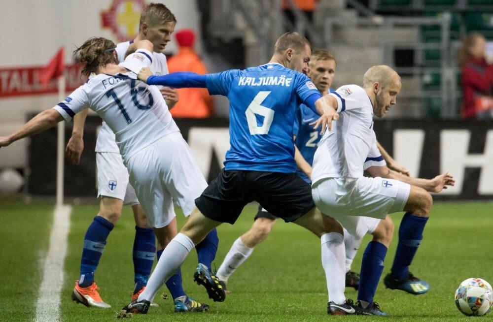 Eesti-Soome jalgpallimäng. Pilt on illustratiivne