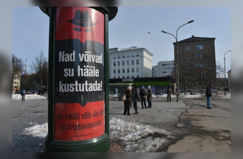 E-valimiste vastased plakatid Tallinnas 2013. aasta KOV-valimiste ajal.