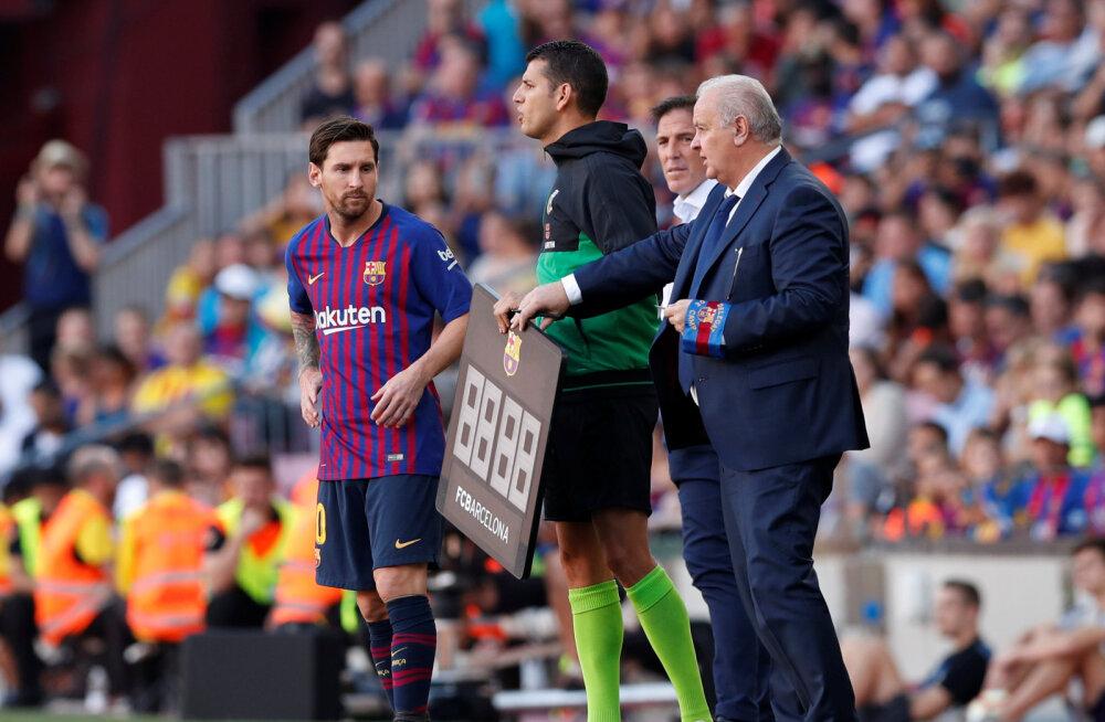 Barcelona jäi kolmandat mängu järjest võiduta, Messi sekkus pingilt