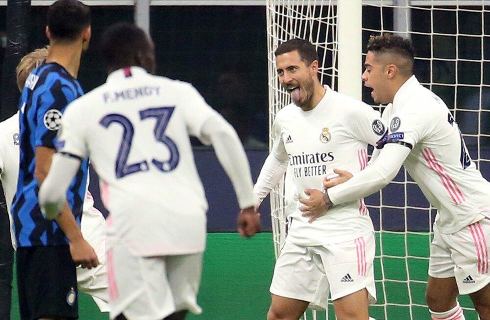 Eden Hazard tähistamas Milano Interi vastu löödud väravat.