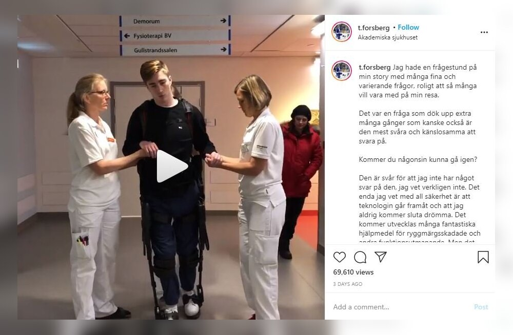VIDEO | Rinnust altpoolt halvatuks jäänud Rootsi hokimees õpib roboti abil uuesti kõndima