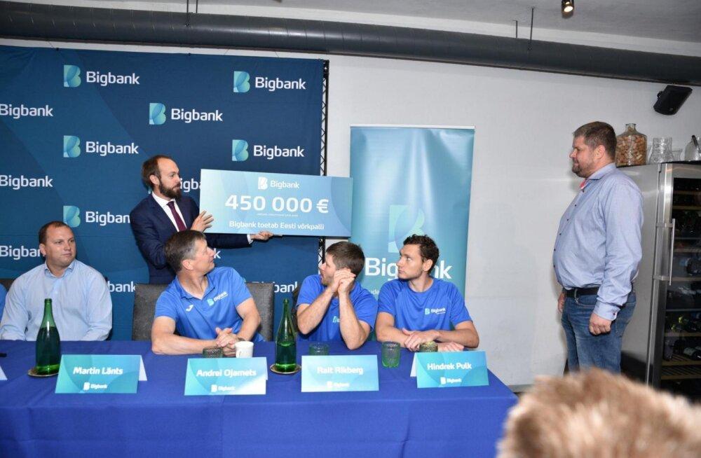 Bigbank annab Eesti võrkpalliklubidele 450 000 eurot