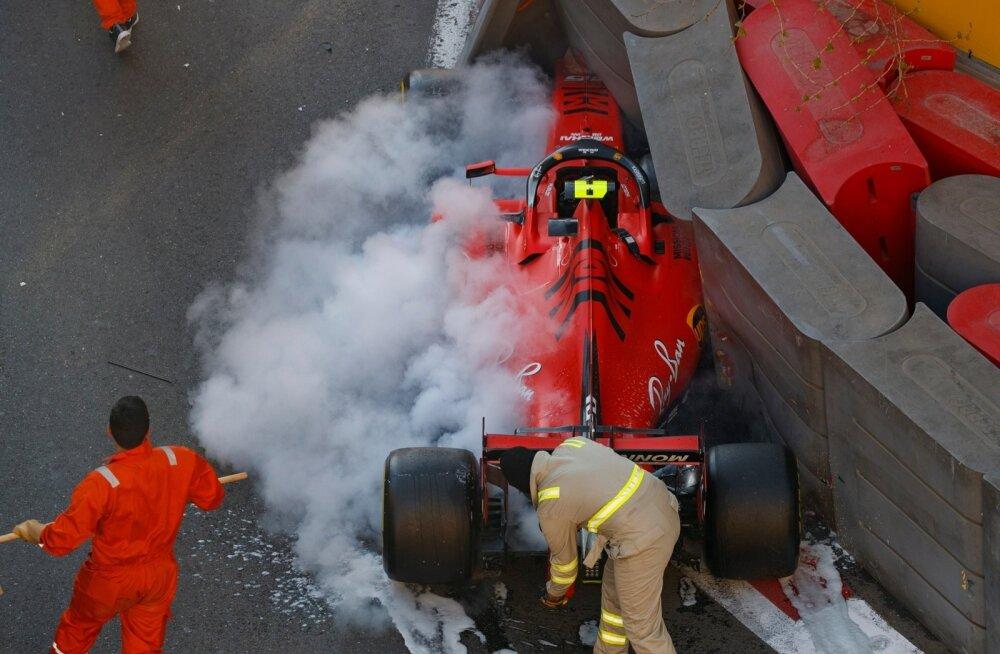 Charles Leclerci kvalifikatsioon lõppes seinas.