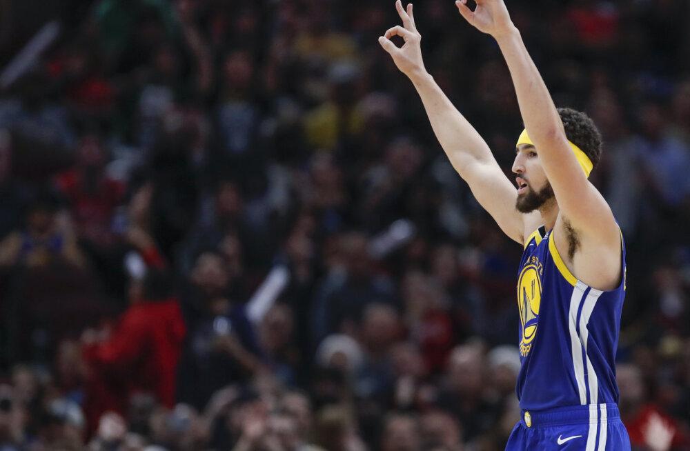 VIDEO | Hullumeelne viskekontsert! Klay Thompson püstitas ühes mängus tabatud kaugvisete NBA rekordi