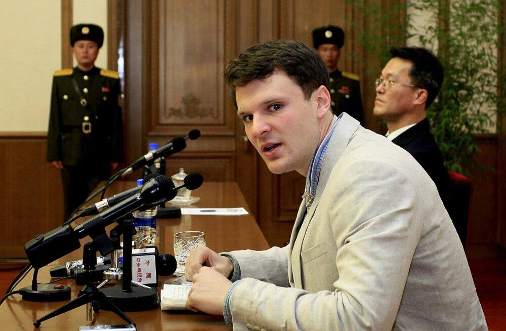 VIDEO: Põhja-Korea näitas loosungi varguse katse eest vabandanud ameeriklast