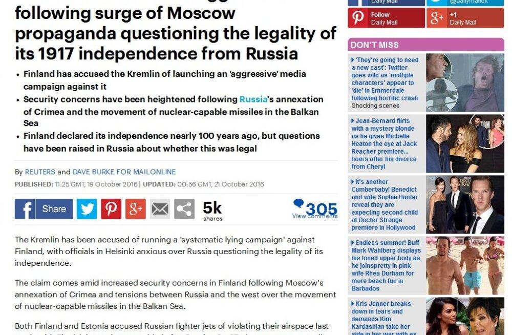 Daily Mail: kas Balkani mere ääres asuv Soome võib olla uus Ukraina?