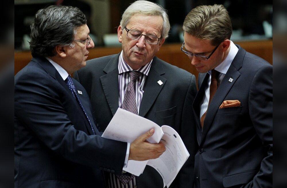 Jose Manuel Barroso,  Jean-Claude Juncker ja Jyrki Katainen