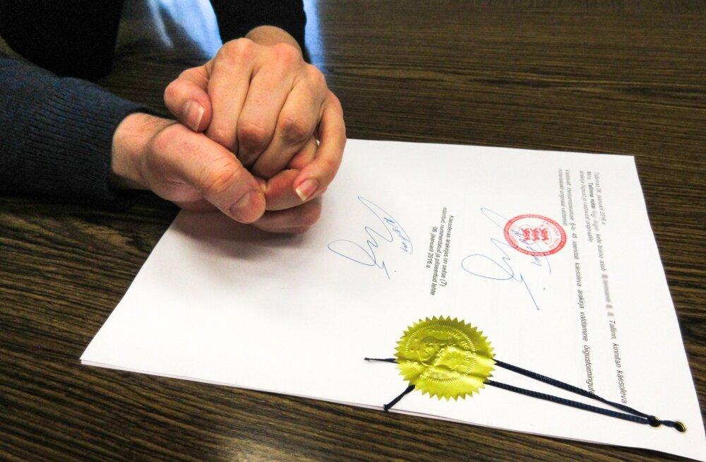 Tõenäoliselt Eesti teine sõlmitud kooseluleping, erisooline paar, Tallinna kesklinna notaribüroos