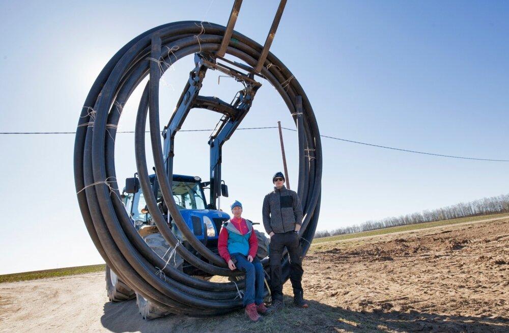 """""""Kõige pakilisem töö sel kevadel oli uue põllu rajamine,"""" teatab OÜ Kindel Käsi juhataja Helen Kaskema. Pildil koos poeg Joosepiga, kes on uuele põllule toonud voolikud kastmissüsteemi tarbeks."""