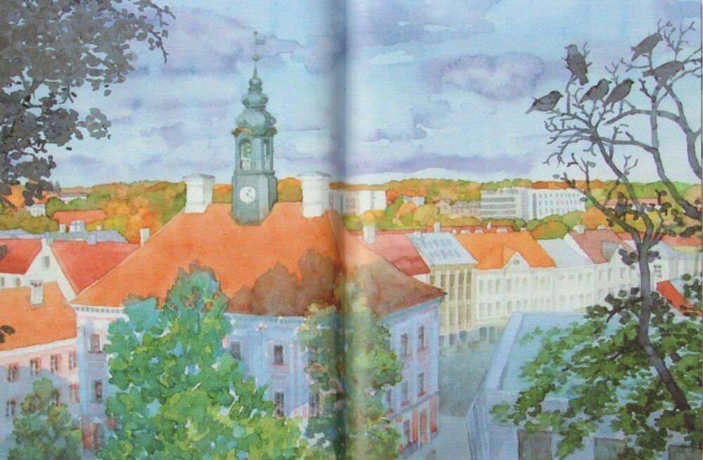 See on raamat Tartu vaimust ja linna ilust, mida illustreerivad Lea Malini akvarellid.