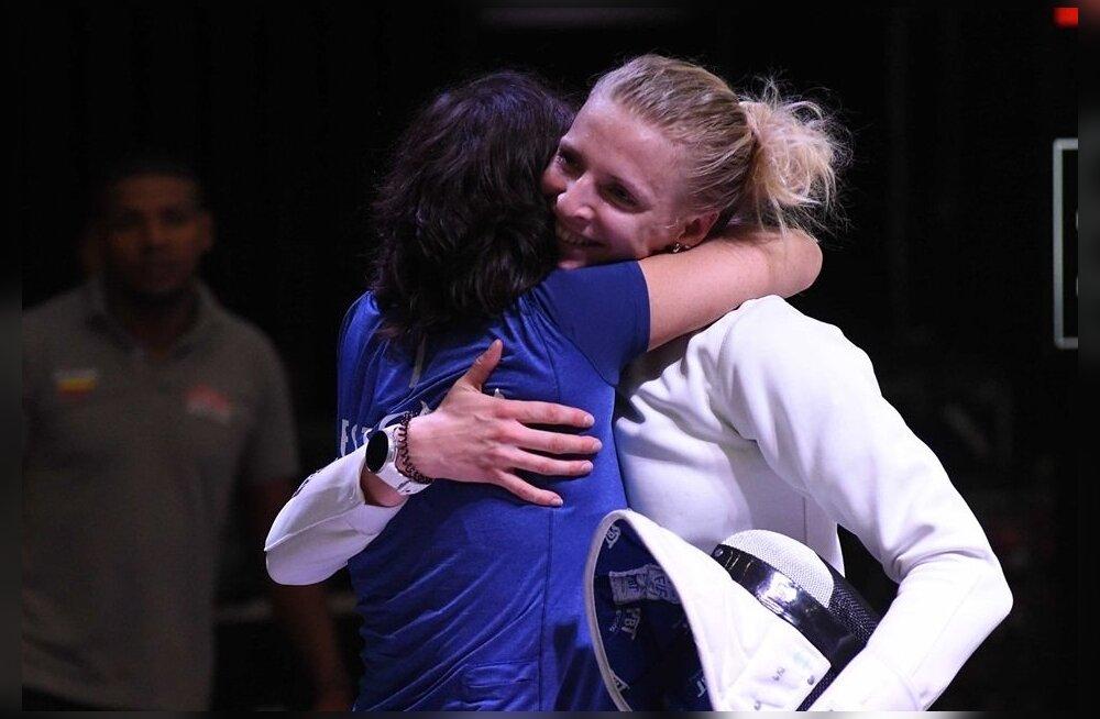 Katrina Lehise ja tema treeneri Helen Nelis-Naukase rõõm on ehe.