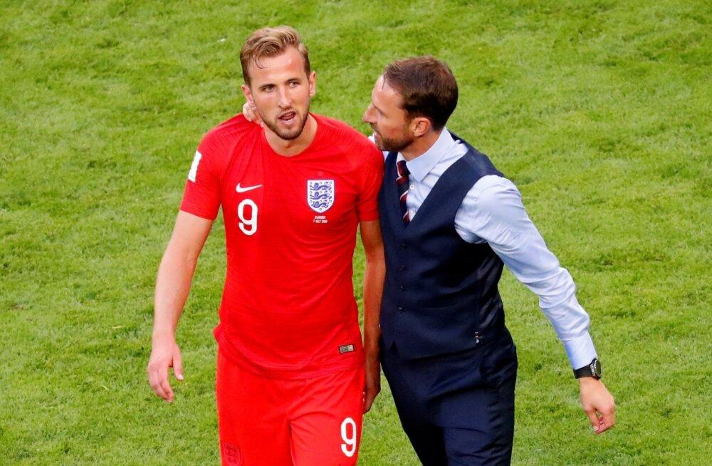 Inglismaa koondise kapten Harry Kane ja peatreener Gareth Southgate.