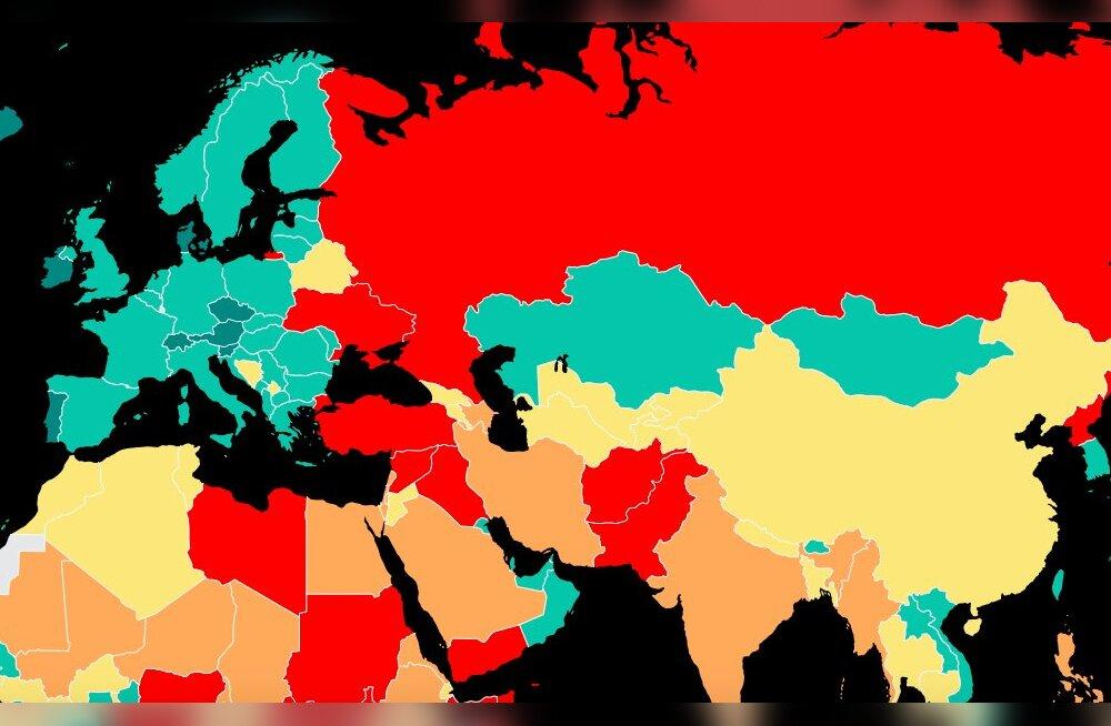 """""""Глобальный индекс миролюбия"""": страны Балтии вошли в ТОП 40, Россия — между Пакистаном и Конго"""