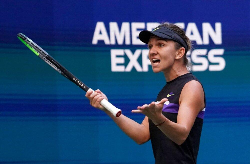 Halep põrus US Openil kolmandat aastat järjest, 15-aastane Gauff läheb esireketiga vastamisi