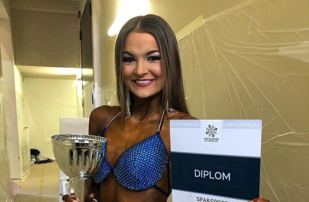 FOTOD   Ott Kiivikase tütar Christin-Amani alustas fitnessikarjääri kohe võidukalt