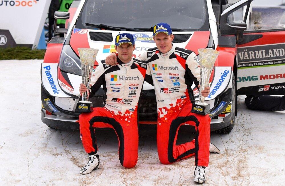 Ott Tänak ja Martin Järveoja võitsid Rootsi MM-ralli ja kerkisid sarja liidriteks.