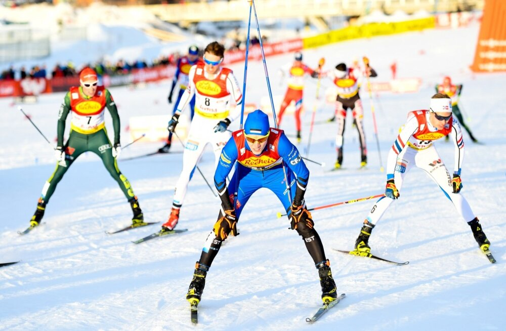 Kristjan Ilves (esiplaanil) Seefeldi võistluse finišis.
