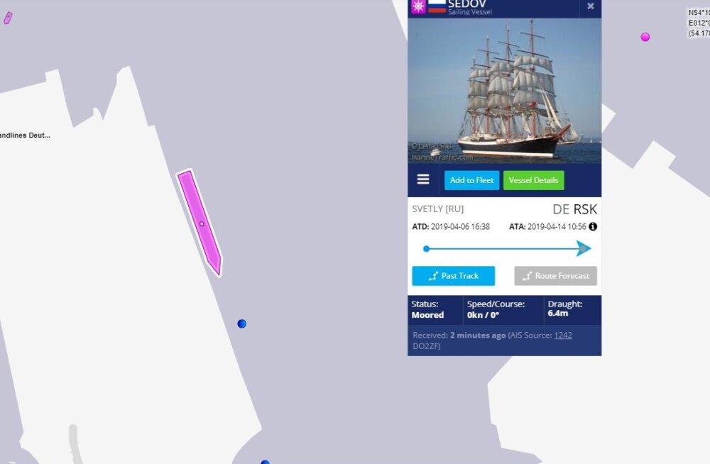 Eesti ja Poola vetesse sissesõidukeelu saanud Vene purjekas Sedov näib olevat Saksa Rostocki sadamas