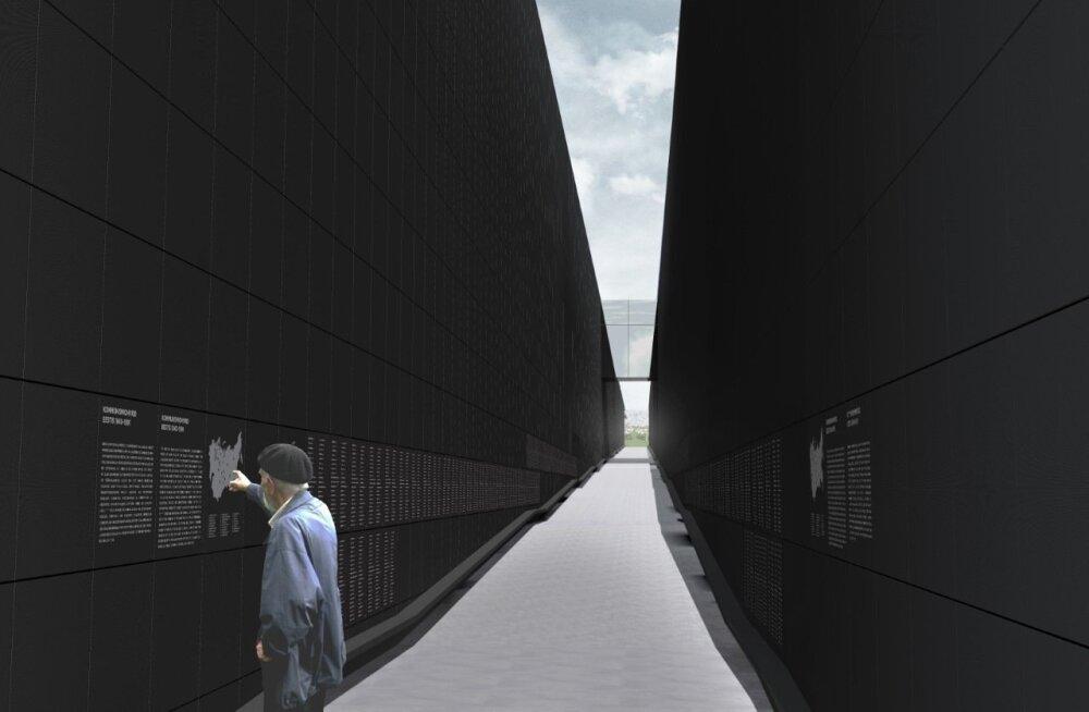 """""""Teekonna"""" seinteks on mustaks värvitud terastahvlid, millele kantud ohvrite nimed."""