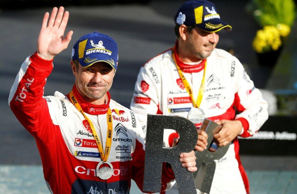 Sebastien Loeb ja Daniel Elena mullusel Kataloonia rallil võitu tähistamas.